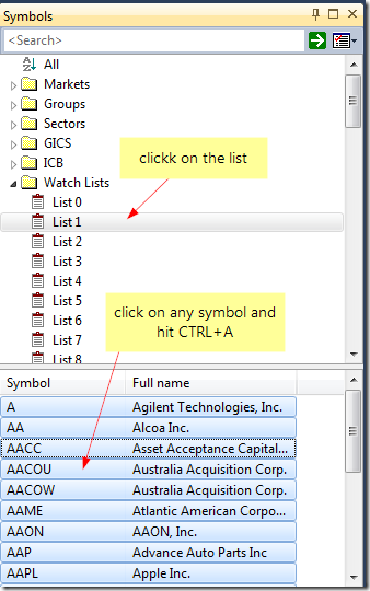 Select symbols from watch list