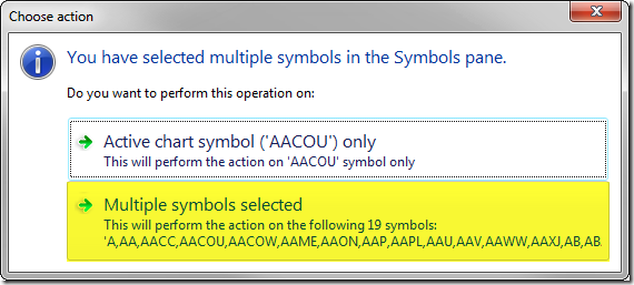 Confirm adding multiple symbols