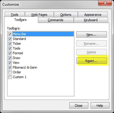 Reset toolbar