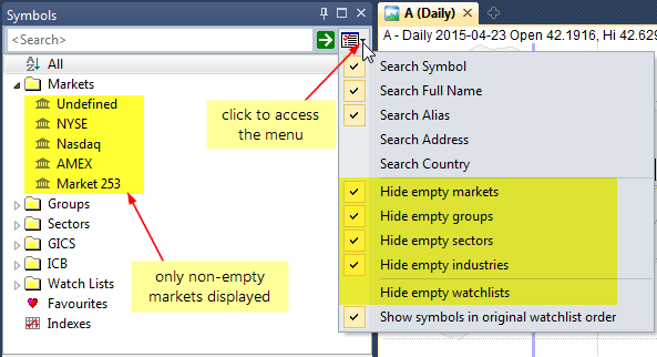 Amibroker Knowledge Base How To Hide Unused Categories